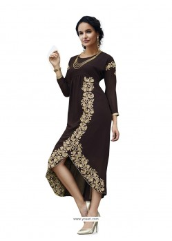 Sterling Embroidered Work Brown Party Wear Kurti
