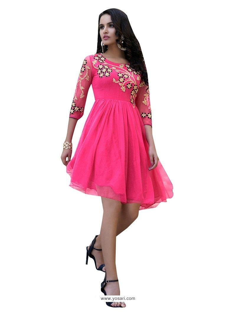 Scintillating Hot Pink Embroidered Work Party Wear Kurti