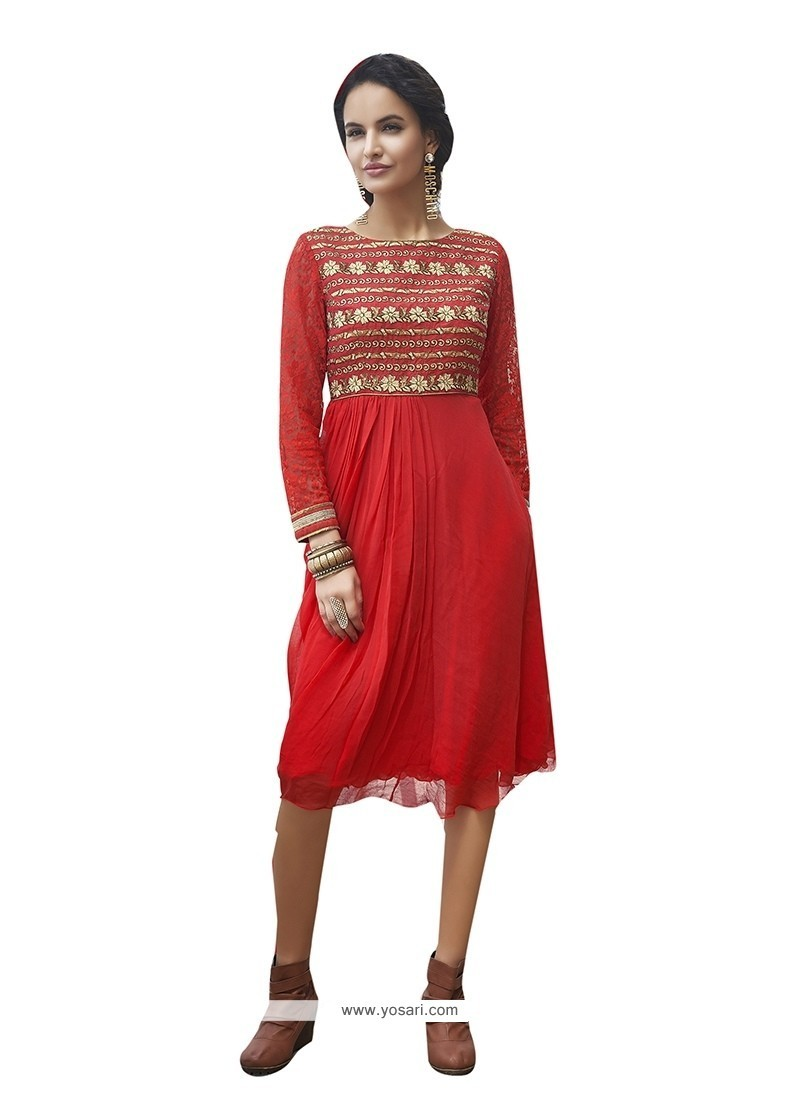 Embroidered Faux Georgette Party Wear Kurti In Red