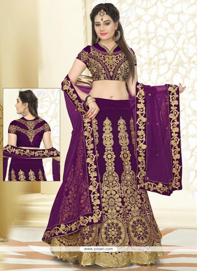 Stupendous Velvet Purple A Line Lehenga Choli