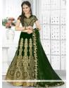 Sensational Velvet Green A Line Lehenga Choli