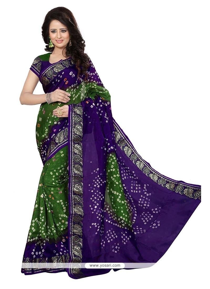 Beckoning Green And Purple Bandhej Work Jacquard Silk Designer Traditional Saree