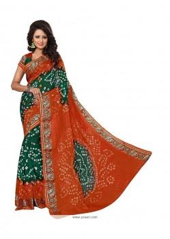 Lovely Jacquard Silk Green And Orange Designer Traditional Saree