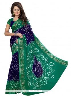 Suave Jacquard Silk Blue And Green Designer Traditional Saree