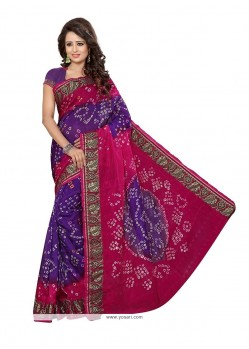 Renowned Bandhej Work Jacquard Silk Designer Traditional Saree