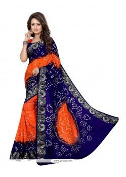 Baronial Jacquard Silk Blue And Orange Bandhej Work Designer Traditional Saree