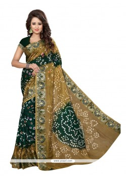 Chic Beige And Green Designer Traditional Saree