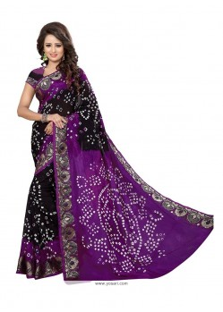 Artistic Black And Purple Bandhej Work Jacquard Silk Designer Traditional Saree