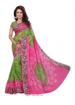 Desirable Green And Pink Bandhej Work Designer Traditional Saree