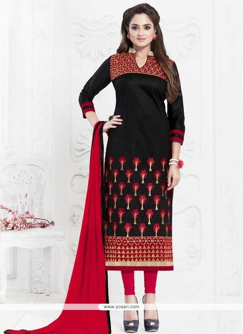 Pleasance Cotton Embroidered Work Churidar Suit
