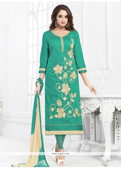 Dignified Green Embroidered Work Cotton Churidar Suit