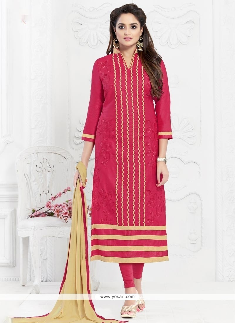 Heavenly Embroidered Work Hot Pink Cotton Churidar Suit