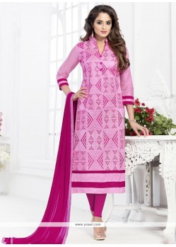 Adorable Embroidered Work Cotton Pink Churidar Suit