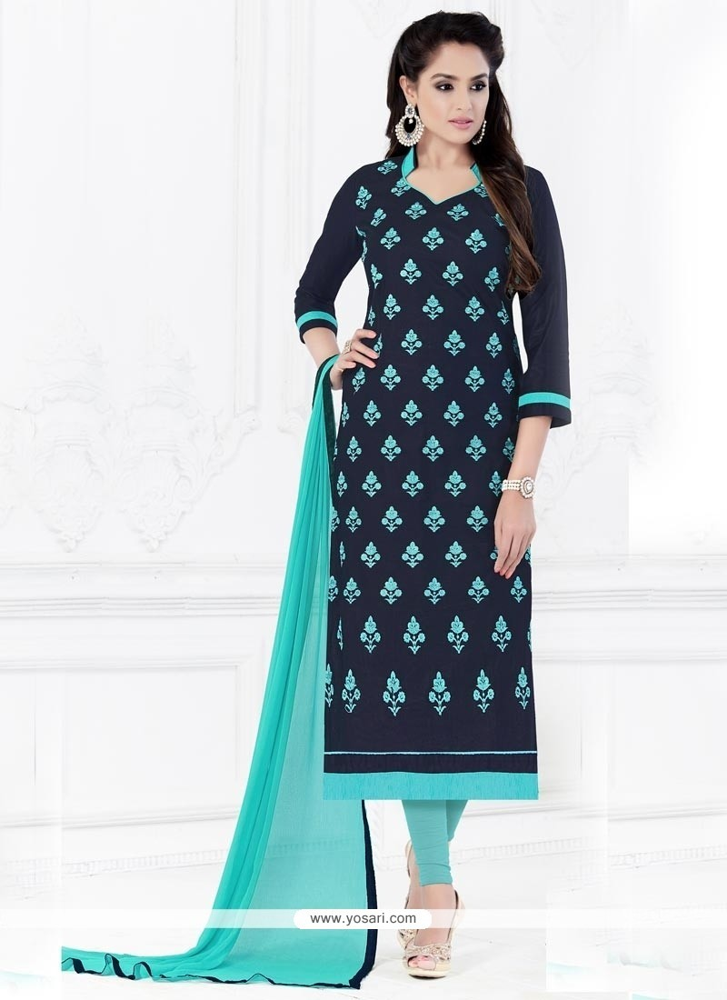 Latest Embroidered Work Churidar Suit