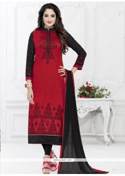 Nice Cotton Embroidered Work Churidar Suit