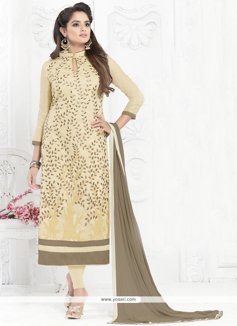 Pleasance Embroidered Work Cotton Beige Churidar Suit
