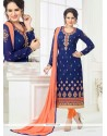 Exciting Faux Georgette Navy Blue Embroidered Work Churidar Designer Suit