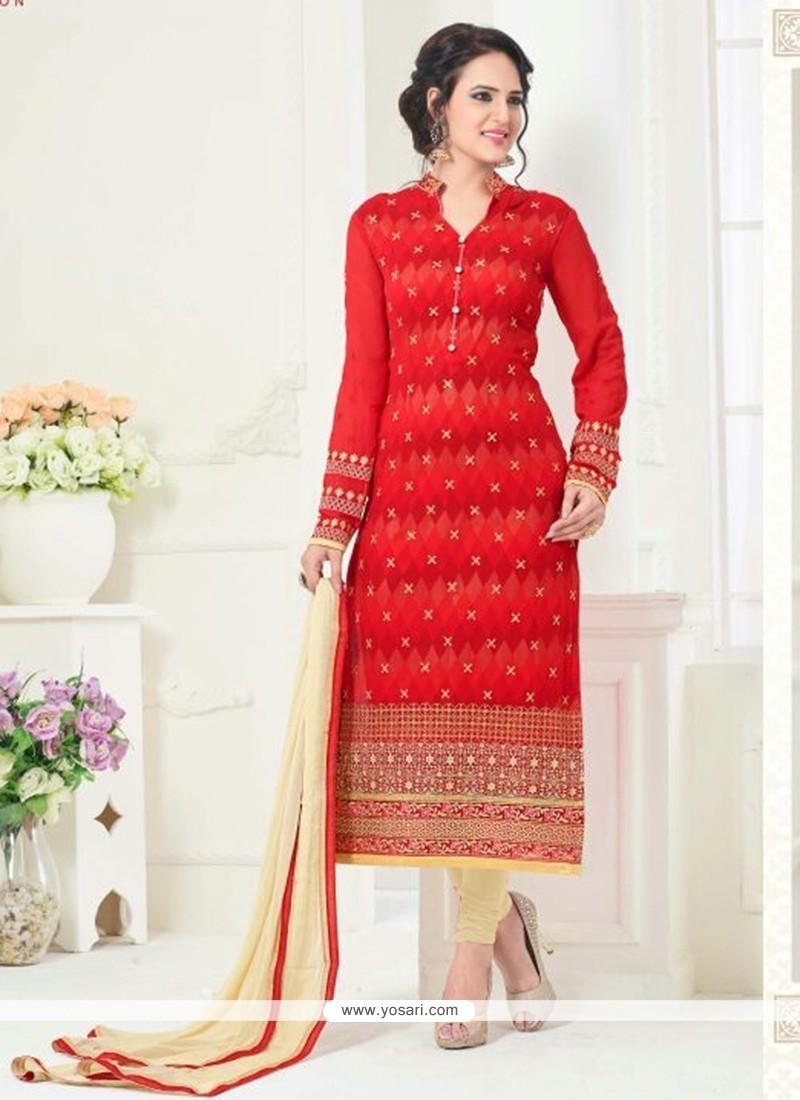 Red Faux Georgette Churidar Designer Suit