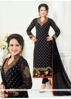 Astounding Embroidered Work Black Churidar Designer Suit