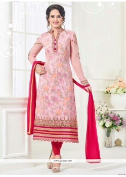 Glowing Embroidered Work Faux Georgette Pink Churidar Designer Suit