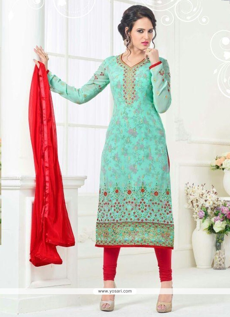 Engrossing Red And Turquoise Embroidered Work Faux Georgette Churidar Designer Suit