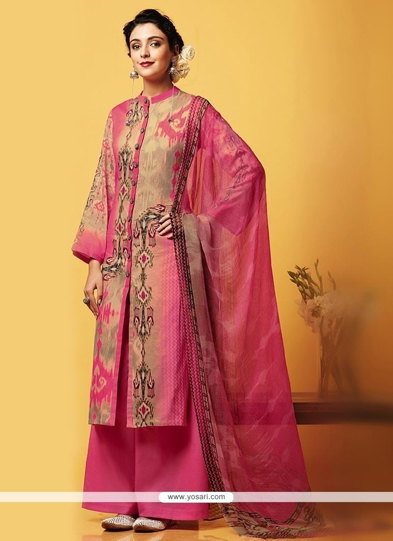 Digital Print Faux Chiffon Designer Palazzo Suit In Pink