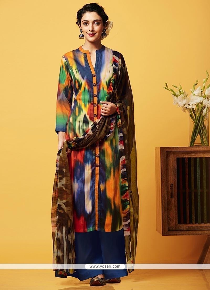 Brilliant Digital Print Work Faux Chiffon Multi Colour Designer Palazzo Suit