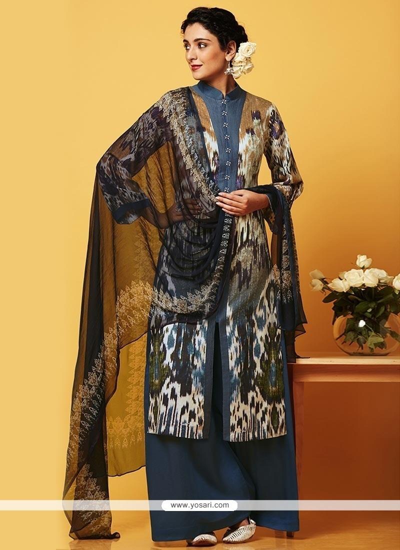 Congenial Faux Chiffon Designer Palazzo Suit