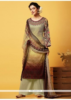 Prime Faux Chiffon Beige And Brown Digital Print Work Designer Palazzo Suit
