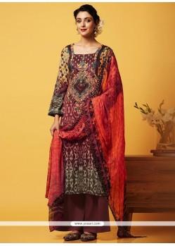 Girlish Multi Colour Digital Print Work Faux Chiffon Designer Palazzo Suit