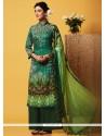 Subtle Digital Print Work Green Faux Chiffon Designer Palazzo Suit