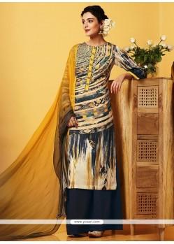 Perfect Faux Chiffon Multi Colour Designer Palazzo Salwar Suit