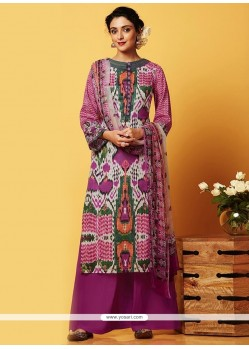 Groovy Digital Print Work Designer Palazzo Salwar Suit
