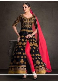 Scintillating Banglori Silk Black Designer Floor Length Suit
