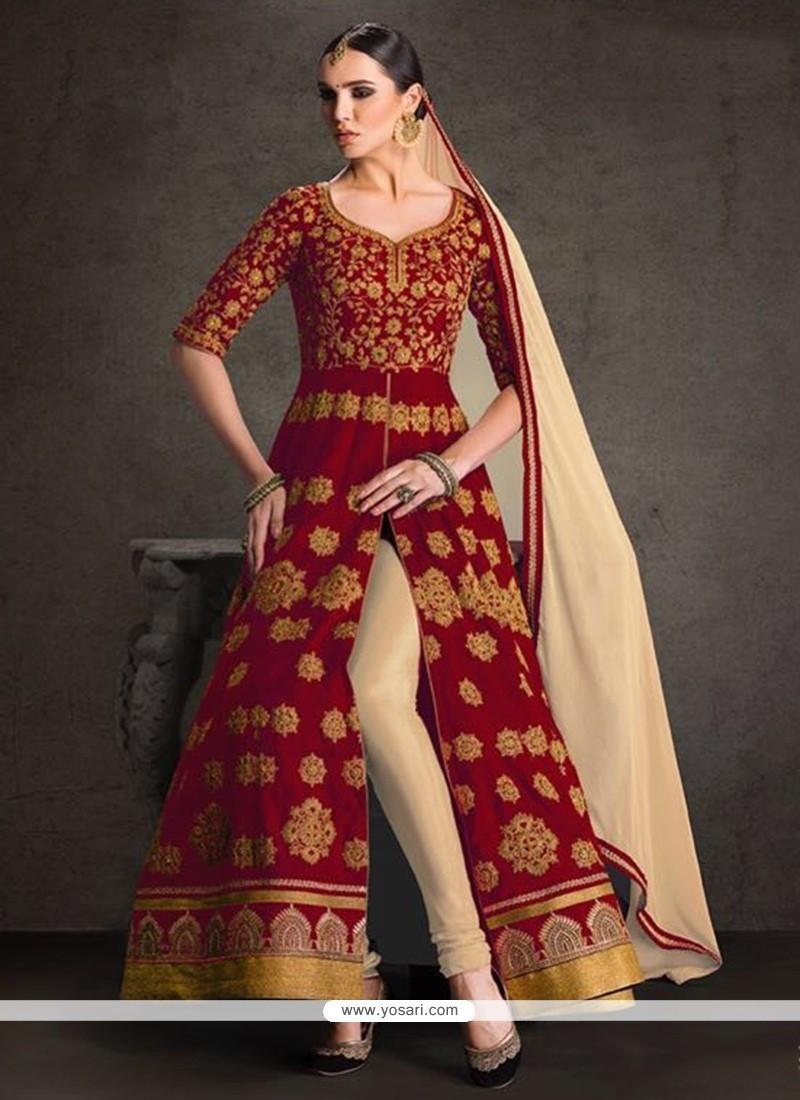 Celestial Patch Border Work Banglori Silk Designer Floor Length Suit