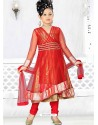 Girls Incredible Red Art Silk in Without Work Readymade Salwar Kameez
