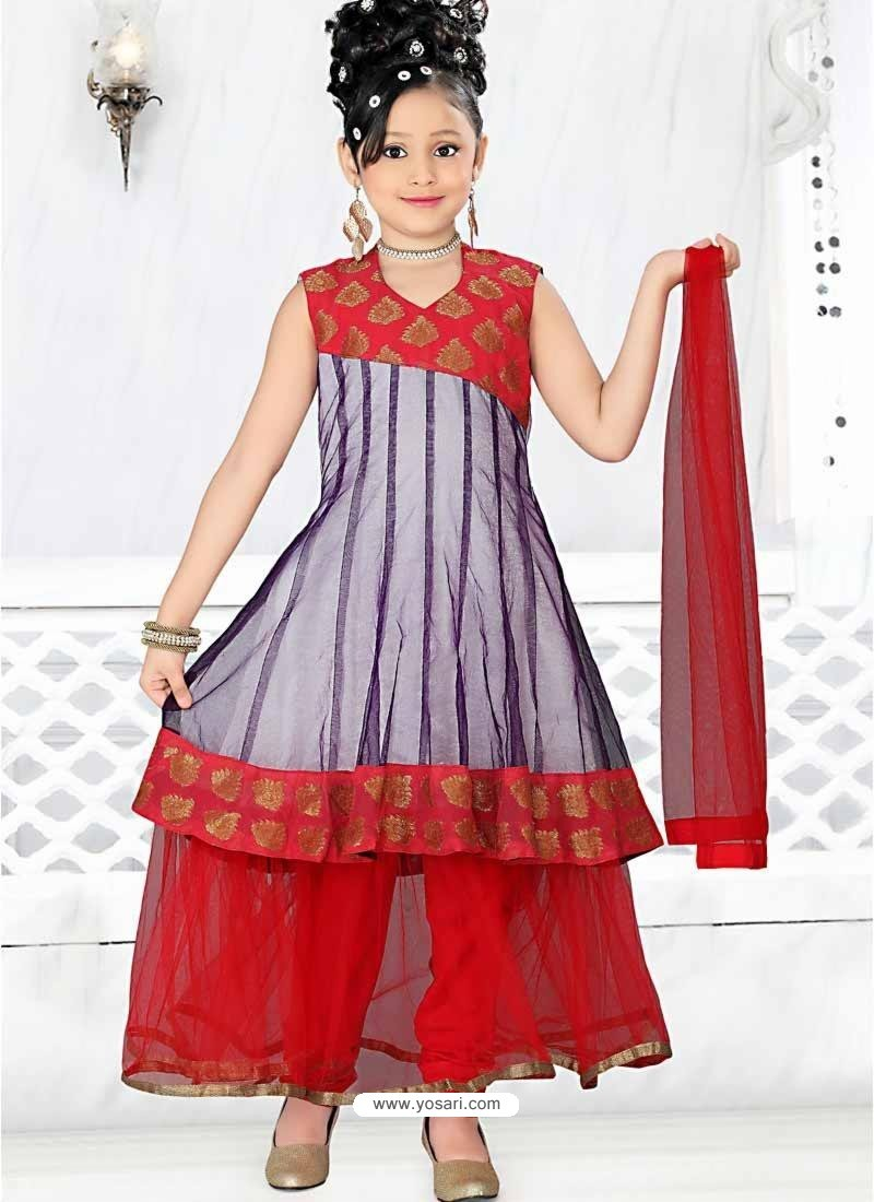 Red Art Silk in Embroidered Incredible Readymade Salwar Kameez For Girls