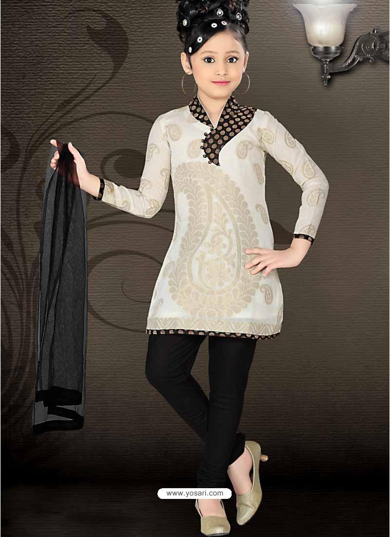 Girls Incredible Black Art Silk in Printed Readymade Salwar Kameez