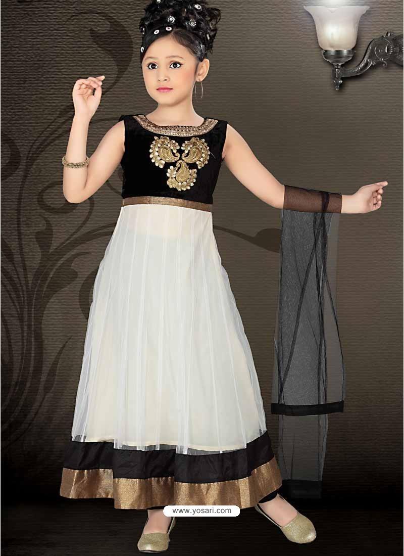 Incredible Black Art Silk Readymade Salwar Kameez For Girls