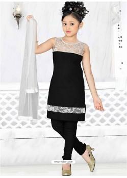 Girls Incredible Black Art Silk in Embroidered Readymade Salwar Kameez