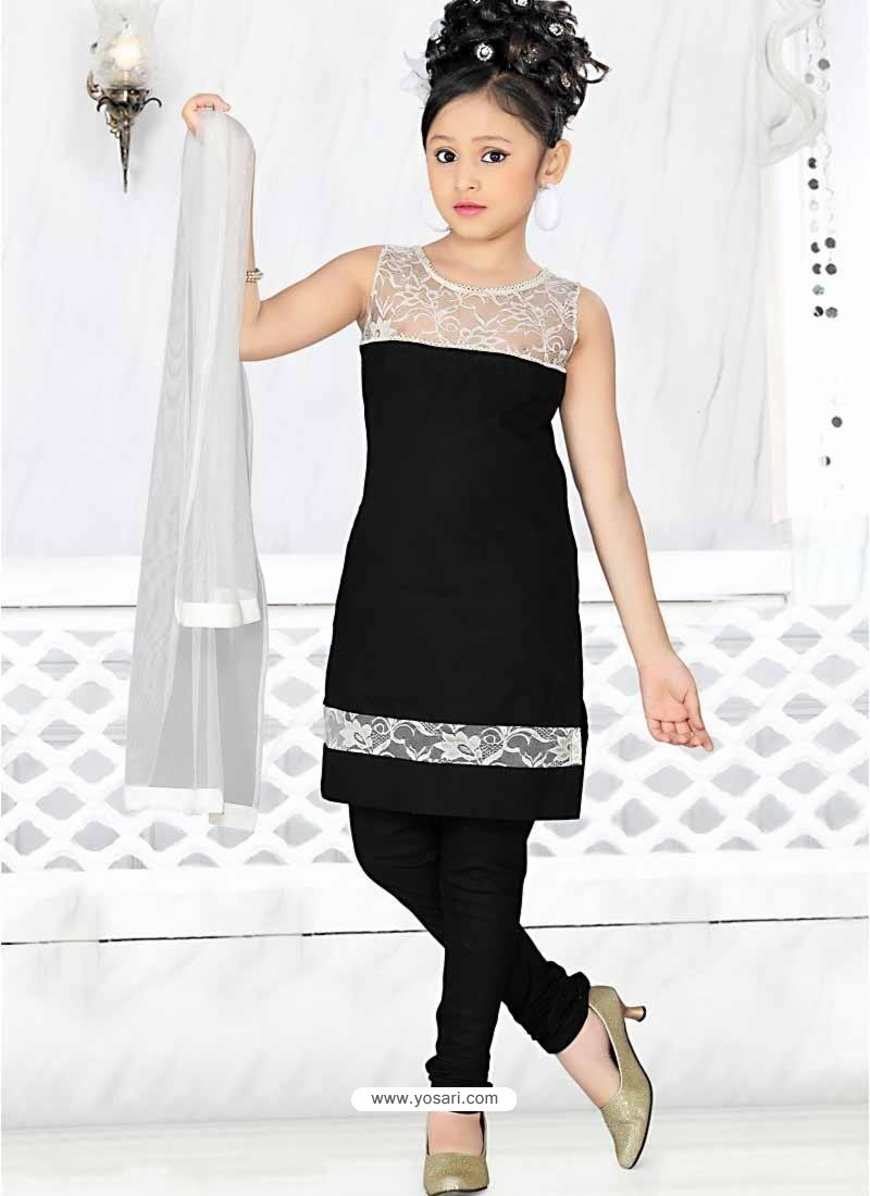Buy Girl's Incredible Black Art Silk in Embroidered ...