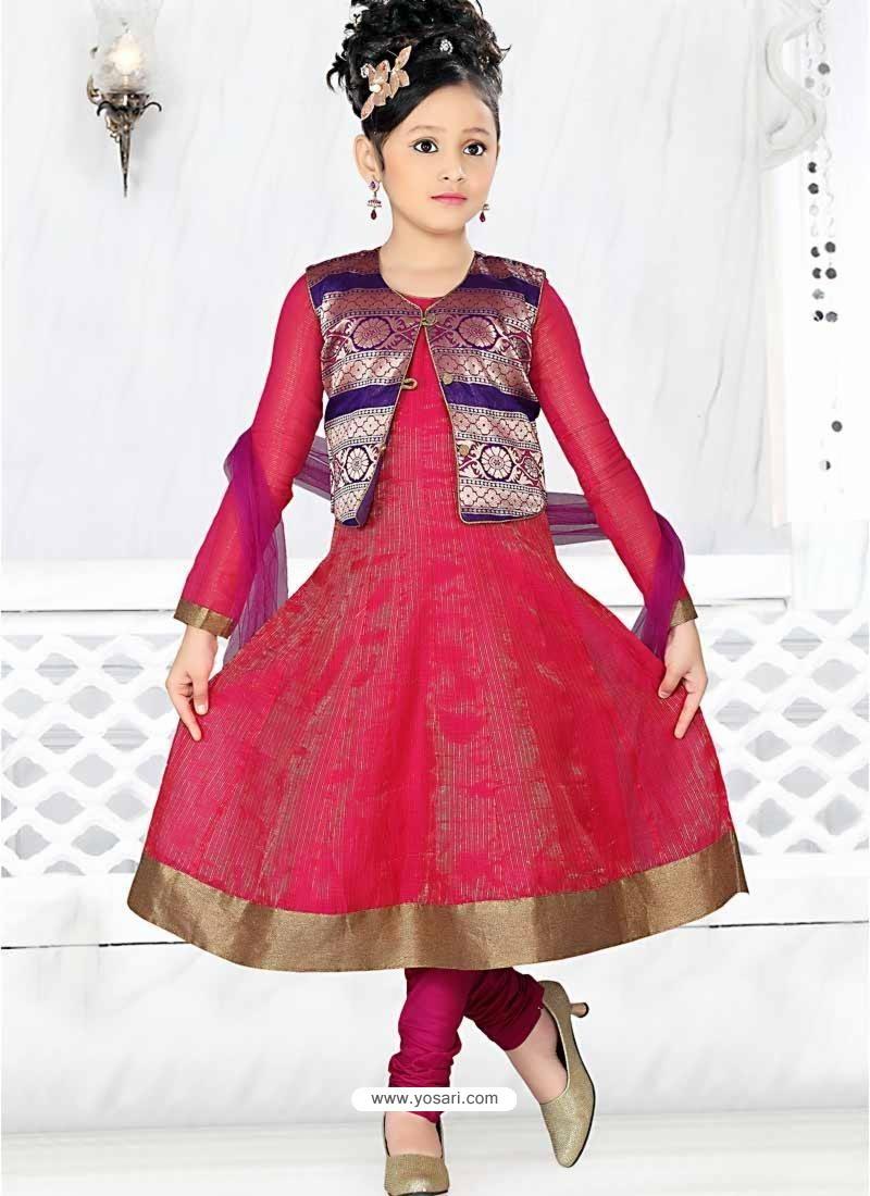 Girls Incredible Violet Art Silk in Self Design Readymade Salwar Kameez