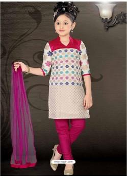 Girls Incredible Violet Art Silk in Embroidered Readymade Salwar Kameez