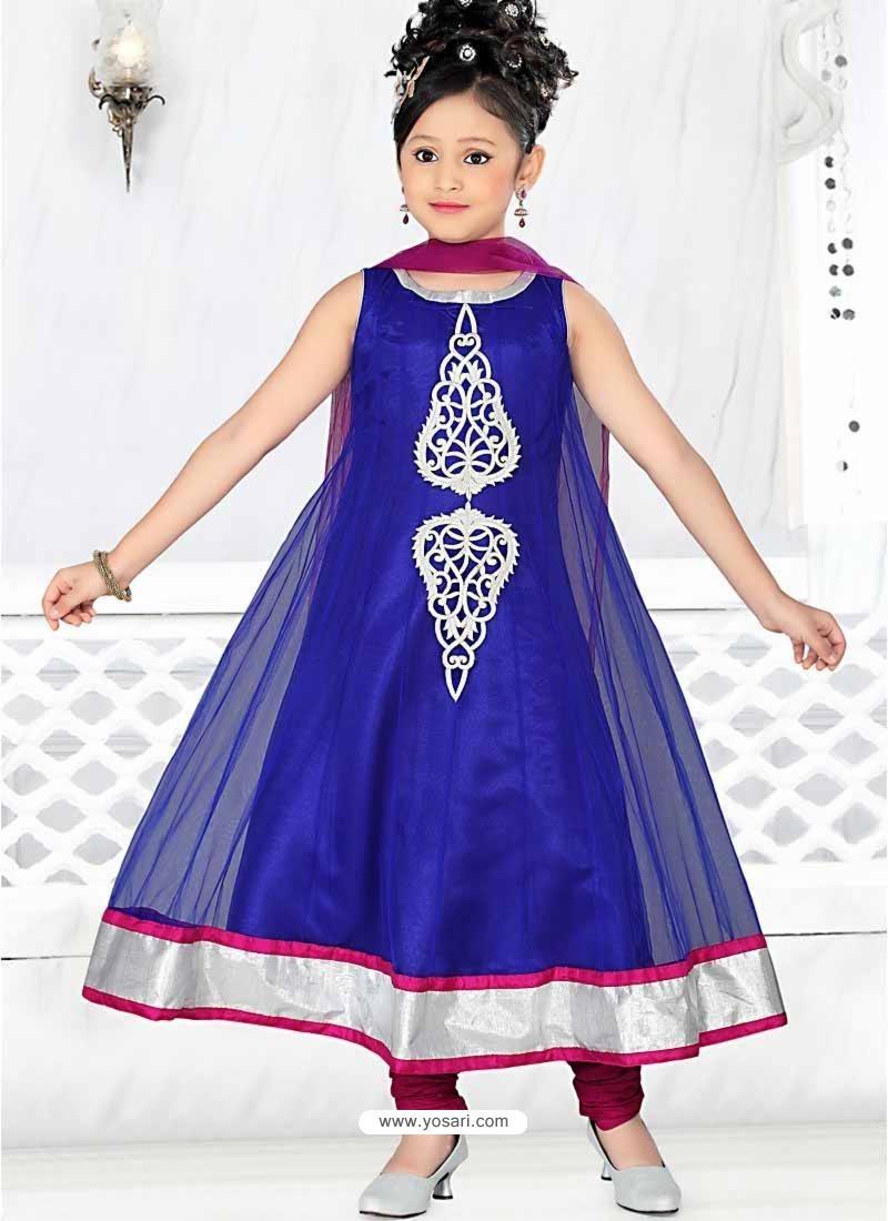 Girls Incredible Violet color Art Silk Readymade Salwar Kameez