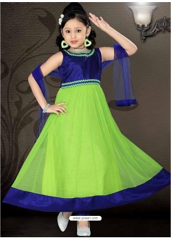 Girls Incredible Blue color Art Silk Readymade Salwar Kameez