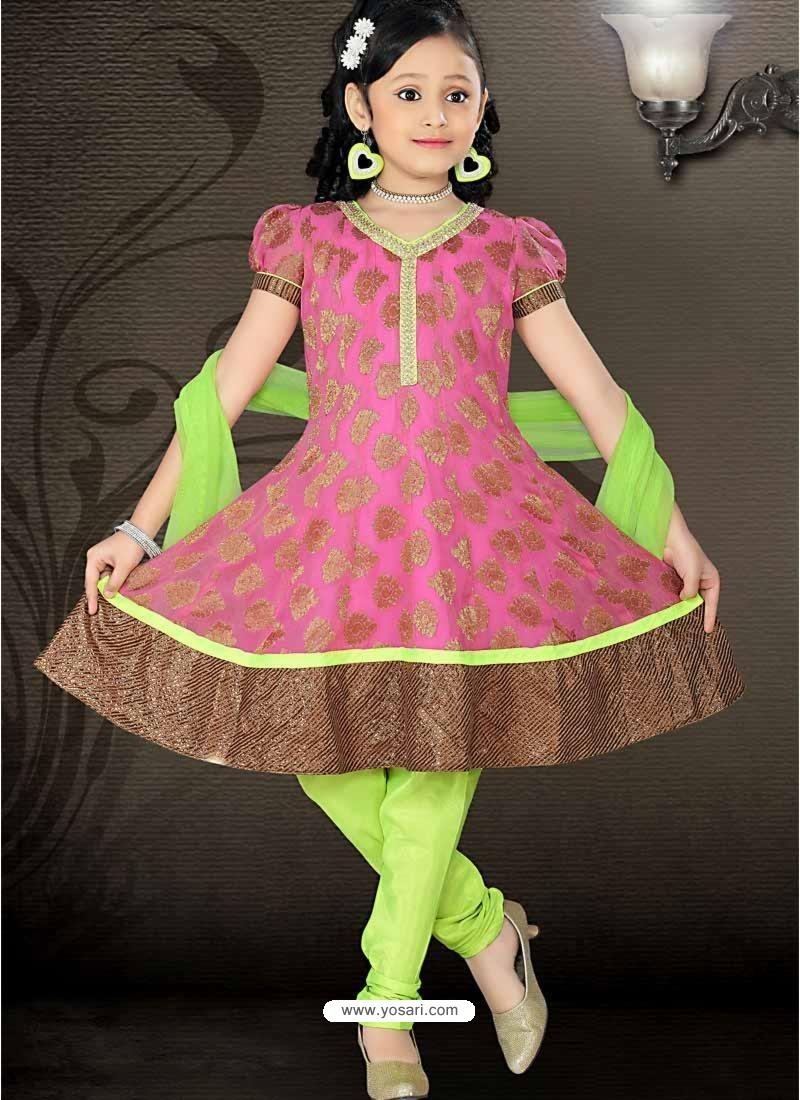 Girls Incredible Green Art Silk in Self Design Readymade Salwar Kameez