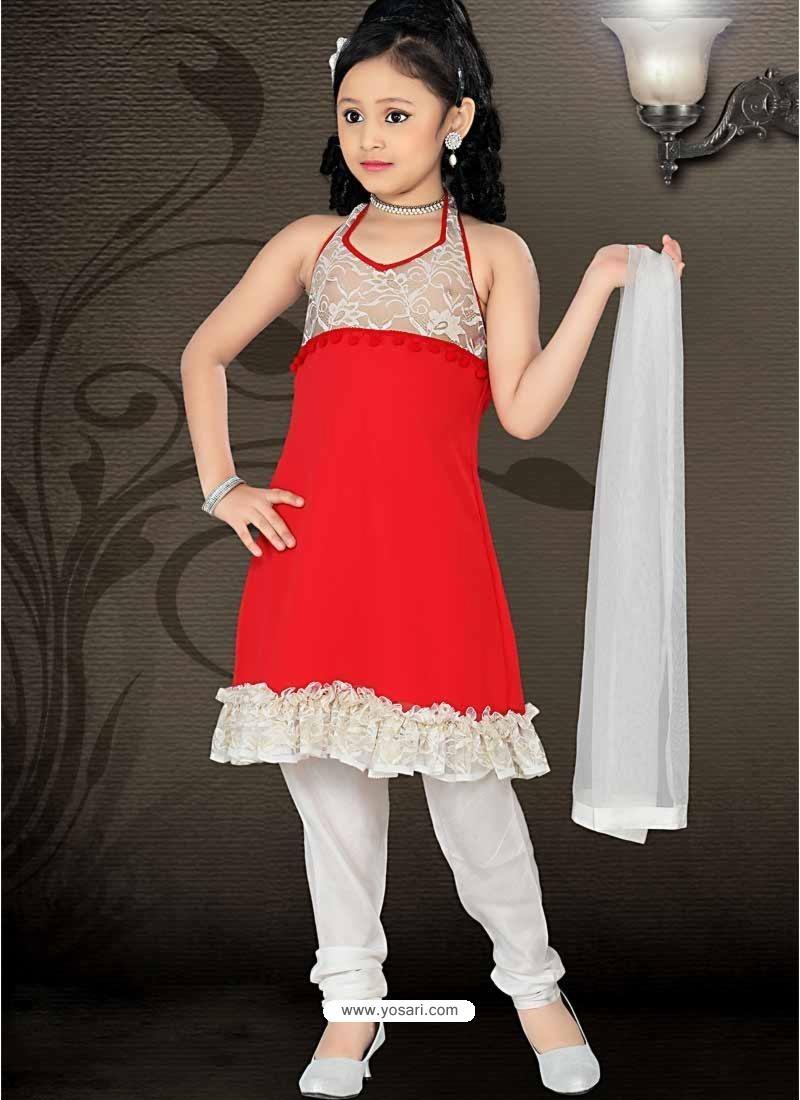 Girls Incredible White color Art Silk Readymade Salwar Kameez