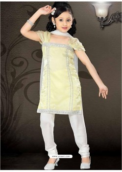 Girls Incredible White Art Silk in Embroidered Readymade Salwar Kameez