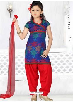 Red Art Silk Incredible Readymade Salwar Kameez for girls