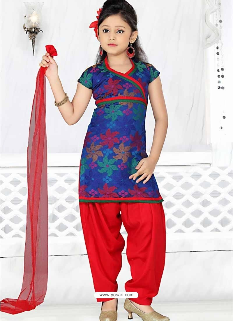 041026c52 Buy Girl s Red Art Silk Incredible Readymade Salwar Kameez